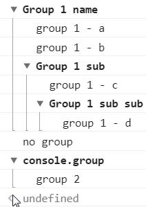 console - grupowanie komunikatów
